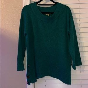 democracy teal oversized sweater